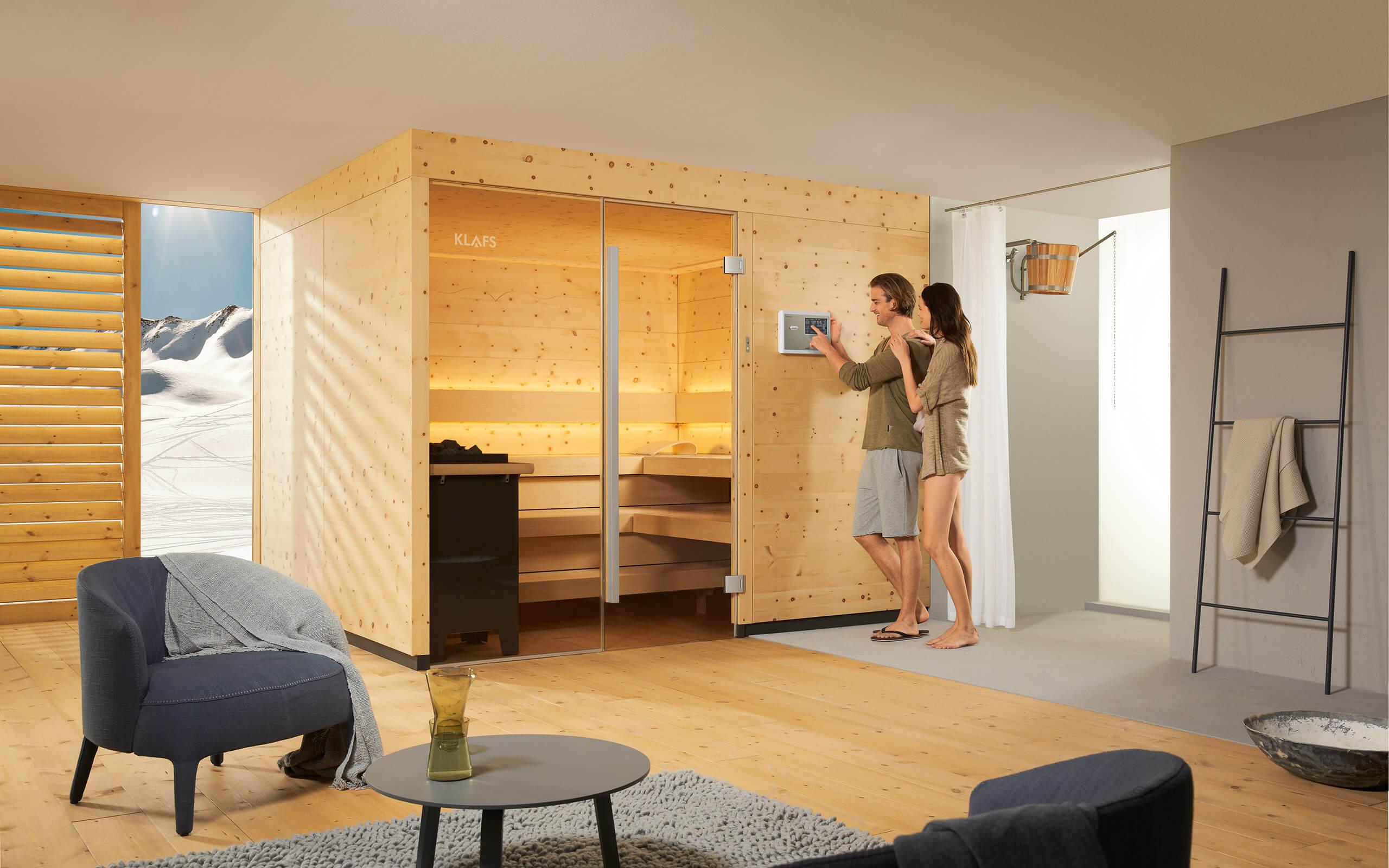 3. Sauna von unterwegs starten, nach Hause kommen und entspannen.